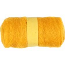 Kardet ull, gul, 100g