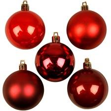 Julekuler, dia. 6 cm, 20 ass., rød harmoni