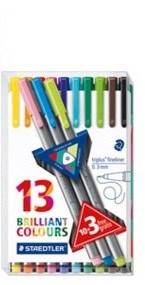 Triplus® fineliner 10-pakkaus + 3 broadliner-kynää, muovipakkauksessa, 0,3/0,8 mm kuitukärki.