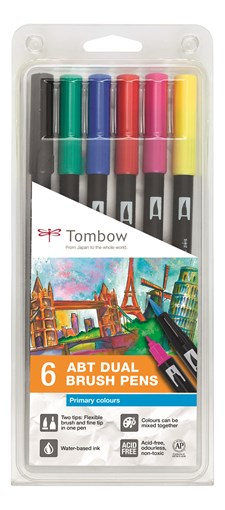 TOMBOW Penselpenn ABT Dual Brush 6P-1 grundl. farger