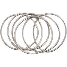 Vieterirannerengas, pit. 18 cm, paksuus 3 mm, 6 kpl, hopeanväriset