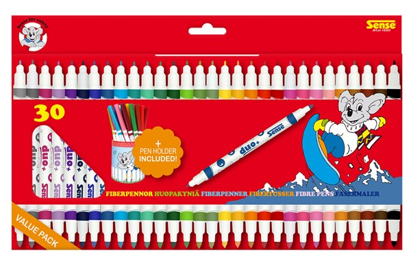 Dubbelspets tuschpennor 30 pack+ Pennburk
