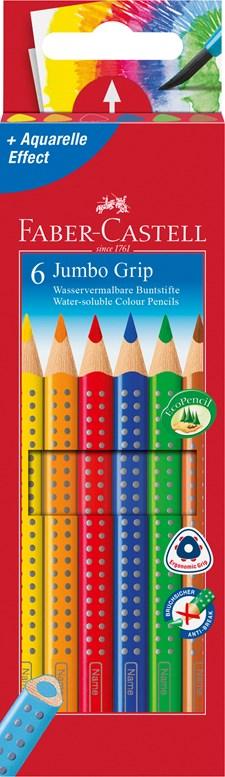 Faber-Castell Jumbo Fargeblyanter Akvarell 6 pakning
