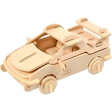 3D Puzzle, bil, str. 13x9x6 cm, kryssfiner, 1stk.