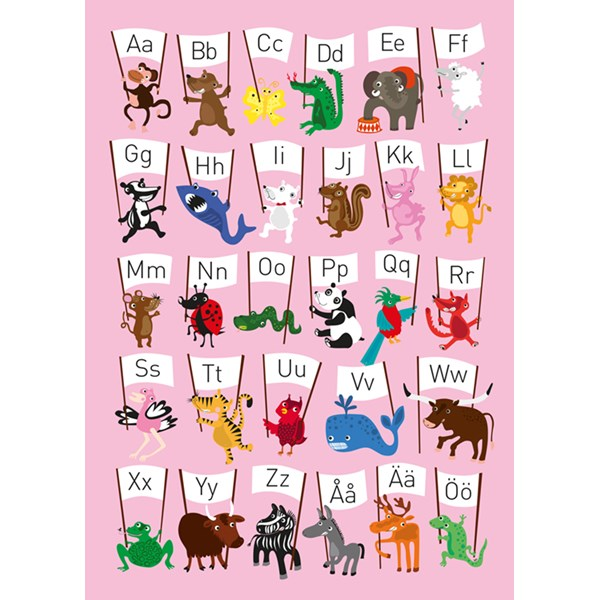 Poster  ABC-djur  rosa  Ejvor - barnrumsdekoration