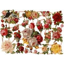 Glansbilder, ark 16,5x23,5 cm, nostalgiske roser, 3ark