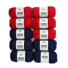 Adlibris Bamboo cotton garn 100g Navy and red 10-pack