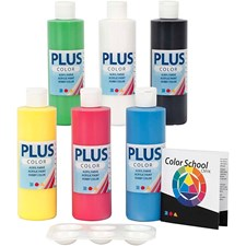 Plus Color hobbymaling - fargeskole, primærfarger, Fargeskoleveiledning følger med, 6x250ml