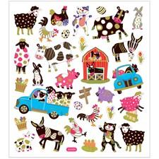 Stickers, ark 15x16,5 cm, ca. 34 stk., fantasifulle dyr, 1ark