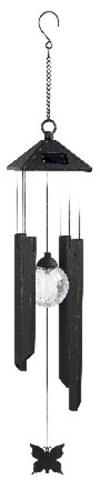 Solcellslampa Vindspel med LEDkula svart