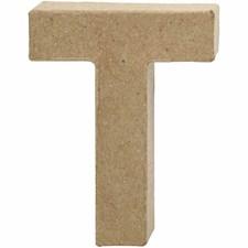 Pappbokstav, T: 10 cm, tykkelse 1,7 cm, 1 stk.