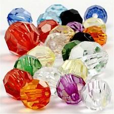 Plastpärlor Facetterade 10-12-16 mm 700 ml Mixade färger