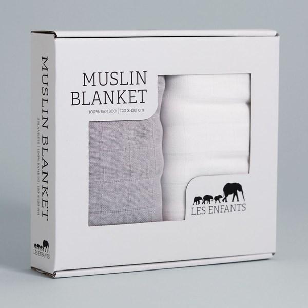 Muslin filt 2-pack 120x120cm  Les Enfants - barnplädar & kuddar