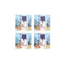 Opto Design Mumin Doorstep Glasunderlägg 4-pack 10 x 10 cm Blå