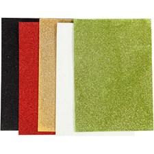 Mosgummi, A5 15x21 cm, tykkelse 2 mm, ass. farger, glitter, 5ark