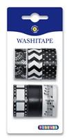 Washitape 6 kpl, musta & valkoinen