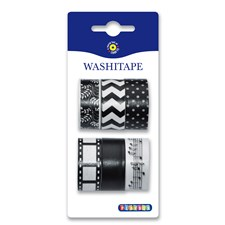 Washitape 6-pack, svart & vit