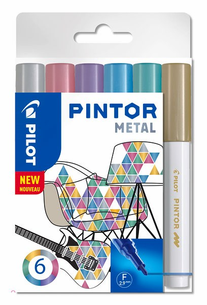 Pintor DIY-tusjer 6 stk. Ass Metal Mix - Medium