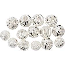 Glitterpärlemix, 8-10 mm, 10 mixade, försilvrad