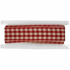 Rutete bånd, B: 20 mm, 2 m, gml. rød/hvit