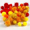Pompomer dia. 15 mm+20 mm gul, orange, röd