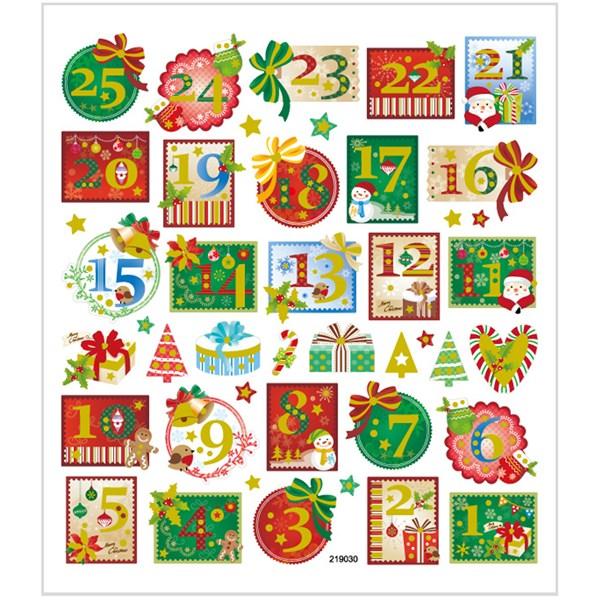 Tarrat, arkki 15x16,5 cm, n. 43 kpl, adventtinumerot, 1ark