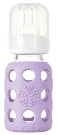 Nappflaska glas 120ml, Lila, Lifefactory
