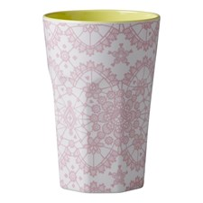 Rice Mugg Latte Melamin Pink Lace Print Yellow Inner