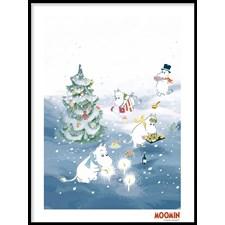 Muumit Juliste Joulupuuhaa kuusen ympärillä 50x70 cm