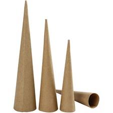 Høye kjegler, H: 20-25-30 cm, dia. 4-5-6 cm, 3stk.