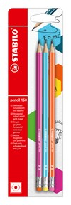 Blyertspenna Stabilo pencil 160 HB med radertopp Rosa + Blå + Orange 3-pack