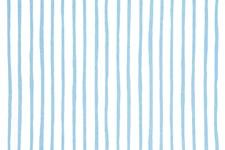 Stoff Hvit, Striper Lyseblå 50 x 160 cm