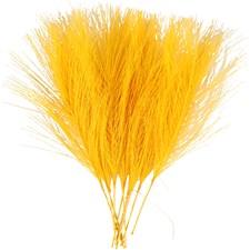 Kunstige fjær, L: 15 cm, B: 8 cm, gul, 10stk.
