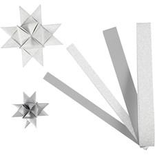 Stjernestrimler, B: 15+25 mm, dia. 6,5+11,5 cm, sølv, glitter og lakk, 40strimler, L: 44+78 cm