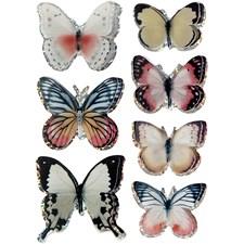 3D Stickers, str. 26-48 mm, ass. Farger, sommerfugl, 7stk.
