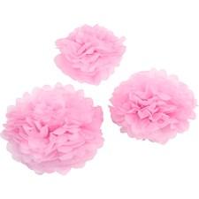 Papirpomponer, dia. 20+24+30 cm, 16 g, 3 stk., rosa