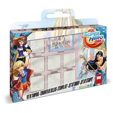 Stämpelset med bok och pennor, DC Super Hero Girls