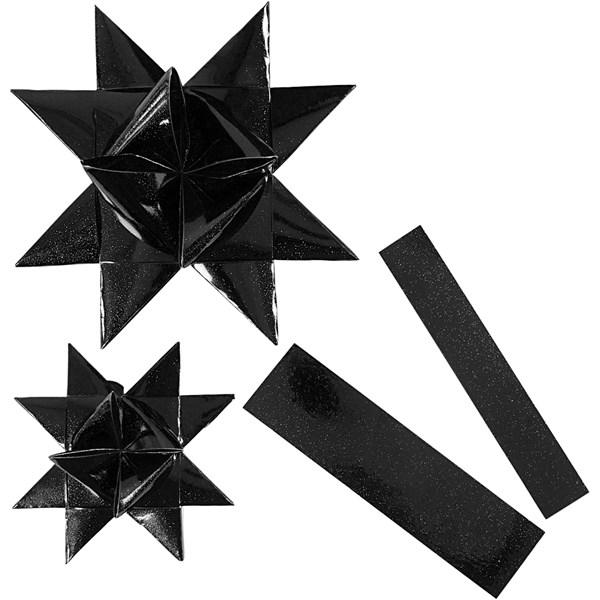 Stjernestrimler, B: 25+40 mm, dia. 11,5+18,5 cm, svart, utendørs, 16strimler, L: 86+100 cm